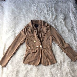 Long sleeve tan blazer. Gold buttons. Small
